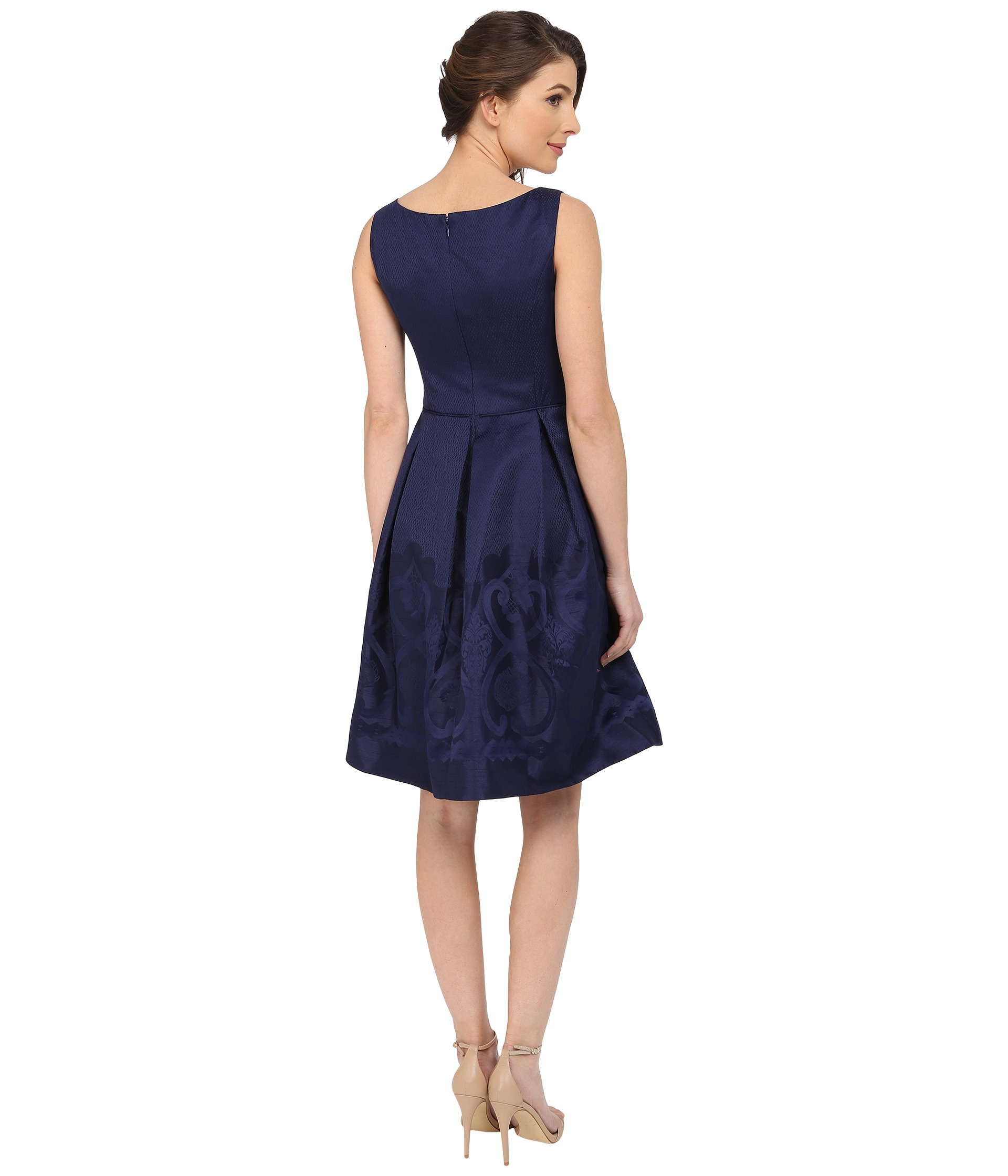 Maggy London Scroll Border Jacquard Fit And Flare Dress In