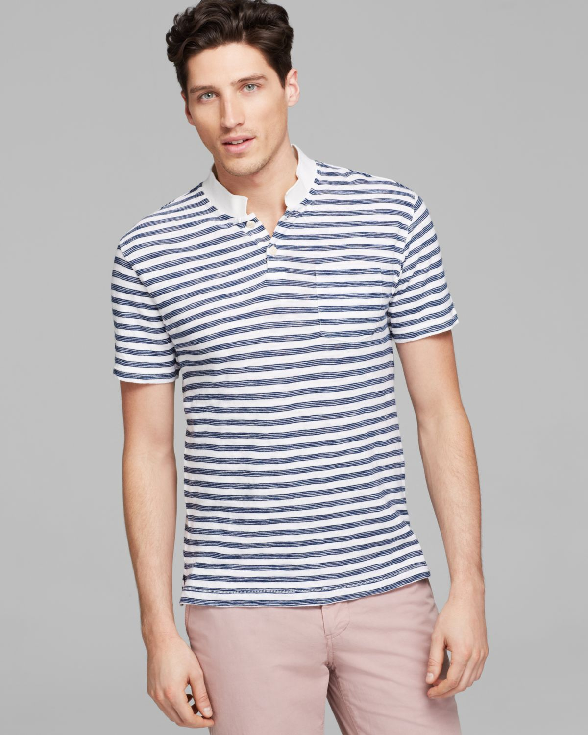 Steven alan cropped collar polo in blue for men lyst for Cropped white collared shirt