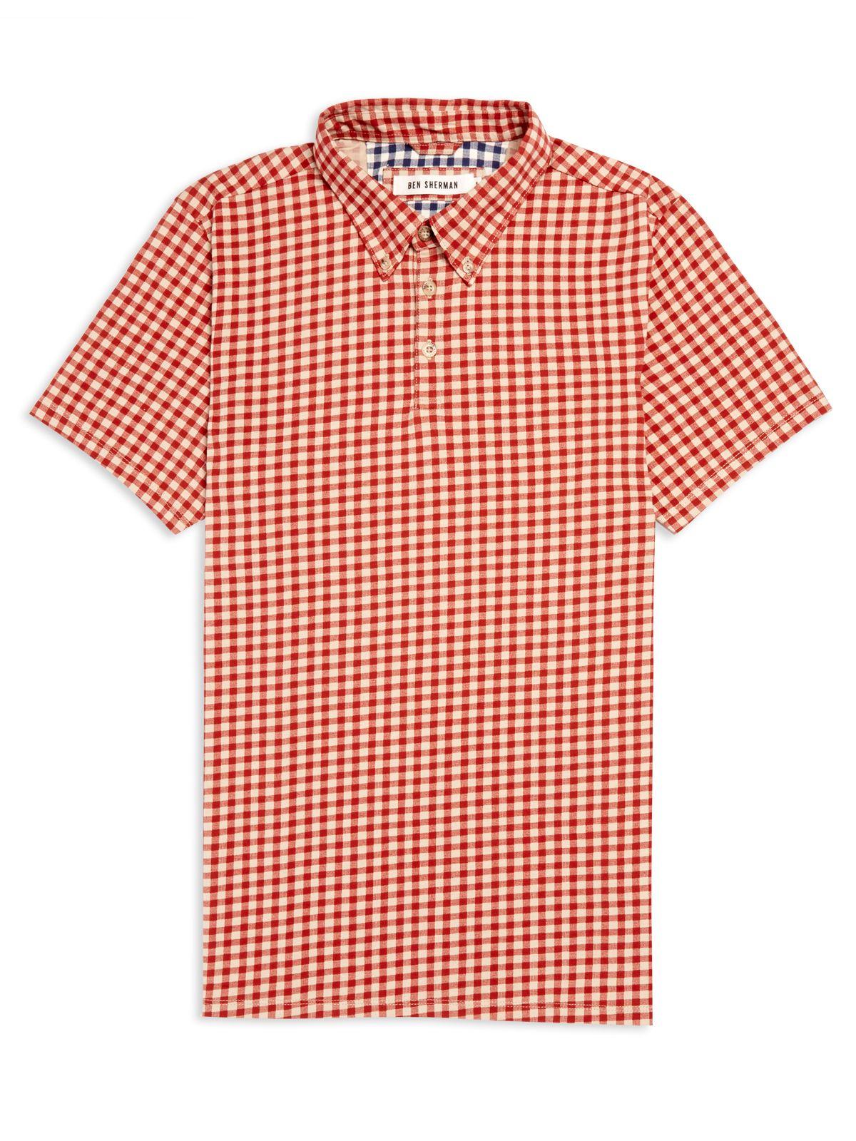 Ben Sherman Gingham Print Polo Shirt In Red For Men Dark