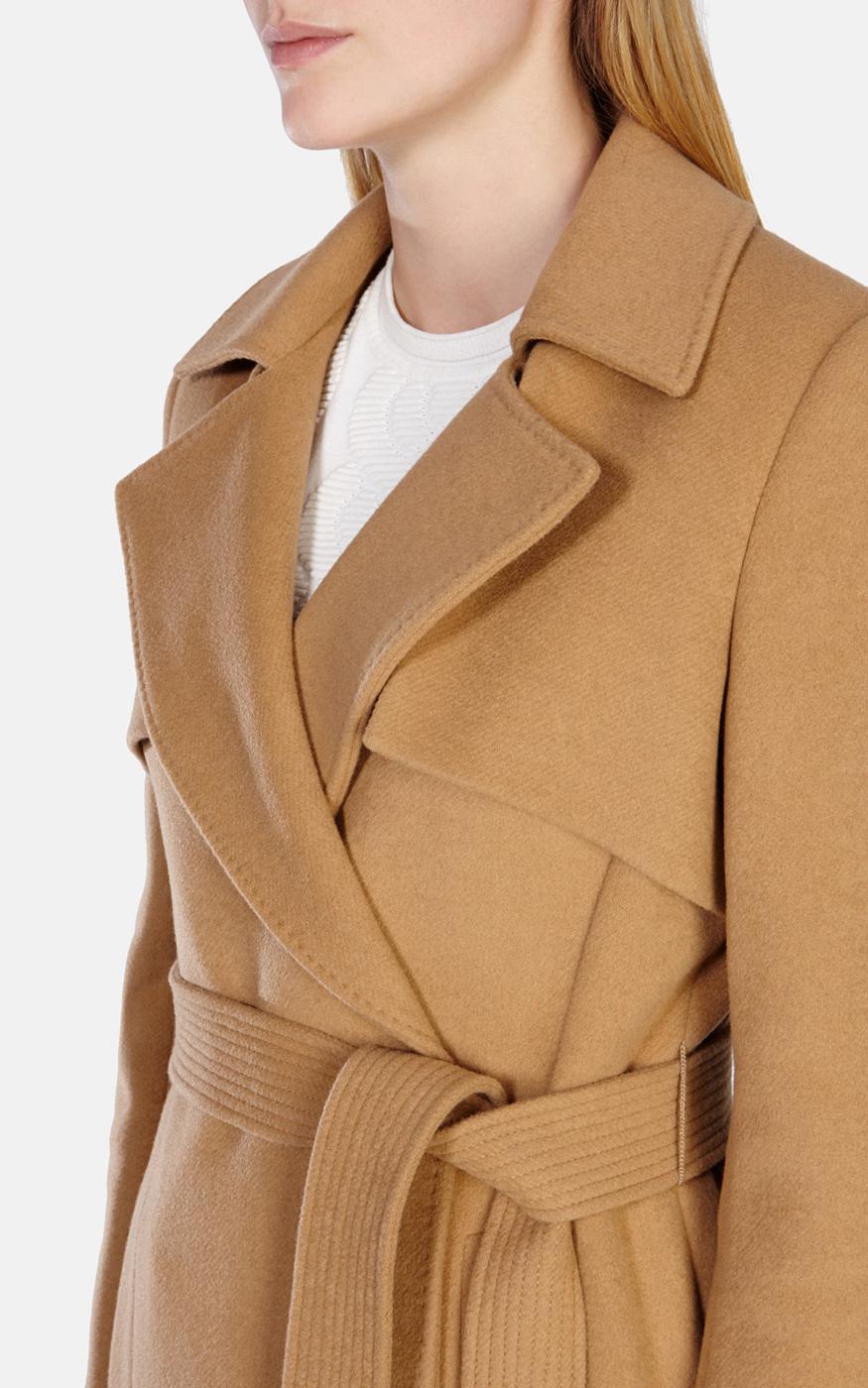 shop for 50-70%off info for Karen Millen Wool Longline Camel Trenchcoat in Natural - Lyst