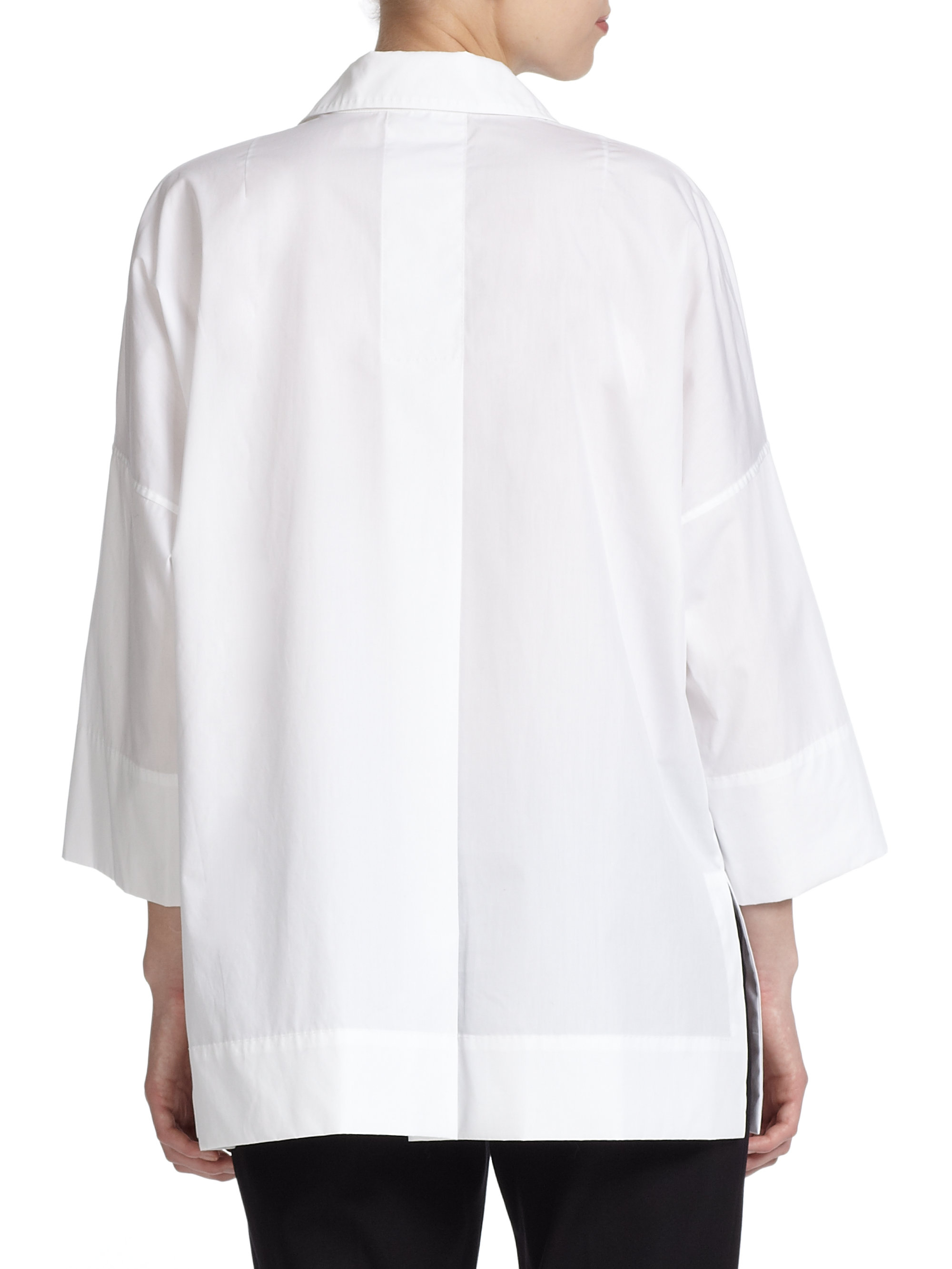lyst escada cotton tunic blouse in white