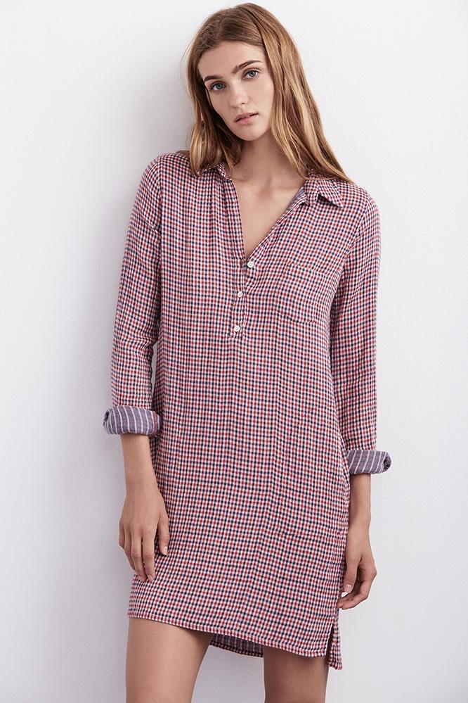 Velvet by graham spencer allison gingham shirt dress in for Red velvet button up shirt