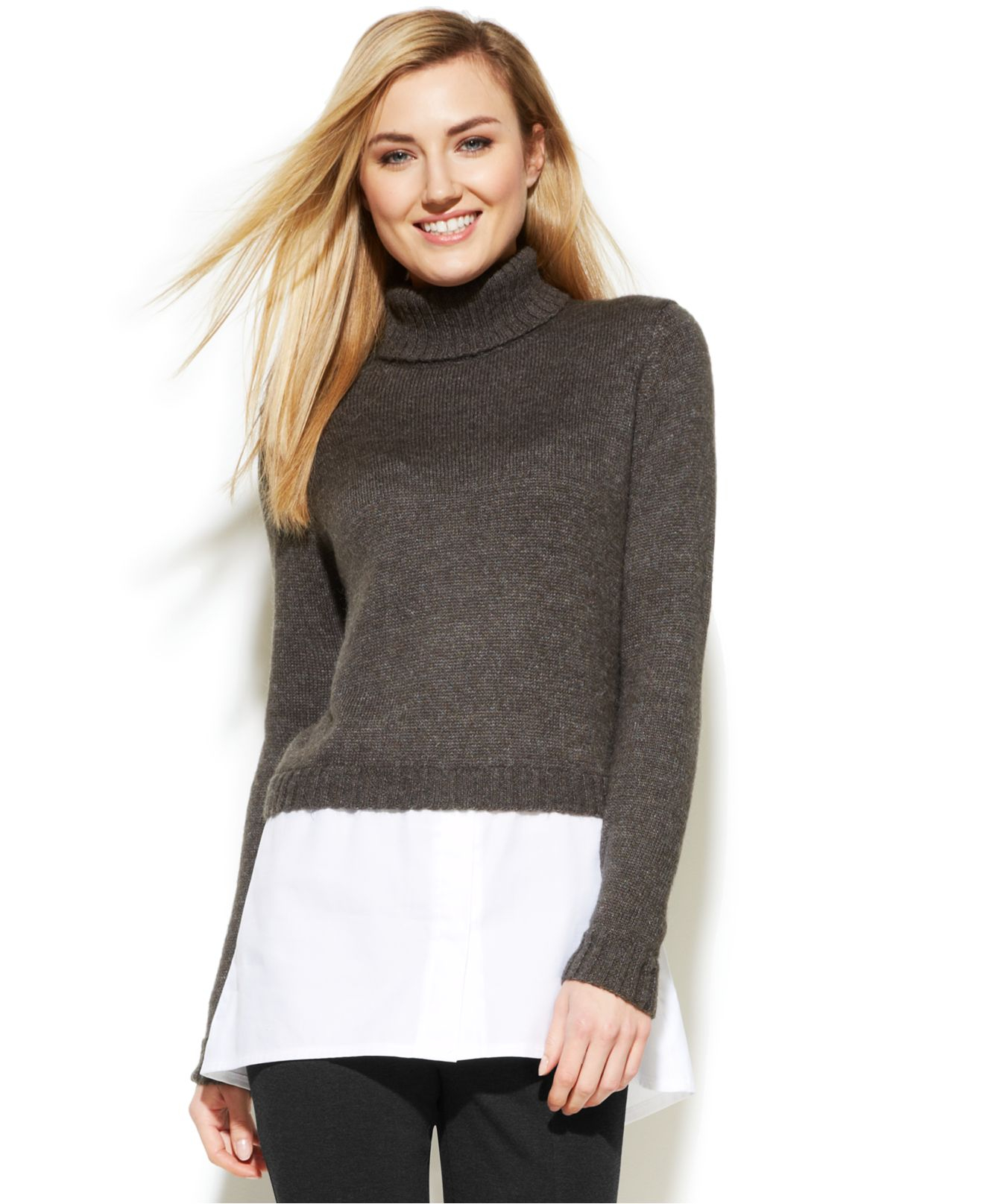 calvin klein layered look turtleneck sweater in gray lyst. Black Bedroom Furniture Sets. Home Design Ideas