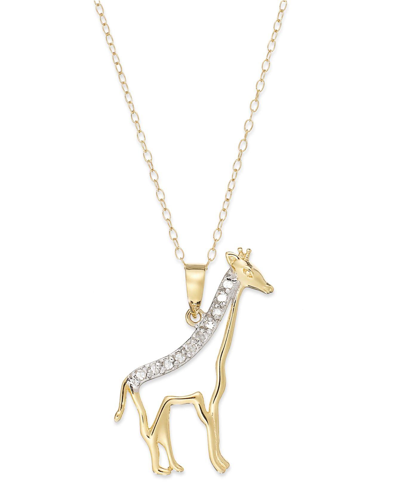 Macy's Diamond Giraffe Pendant Necklace In 18k Gold Over ...