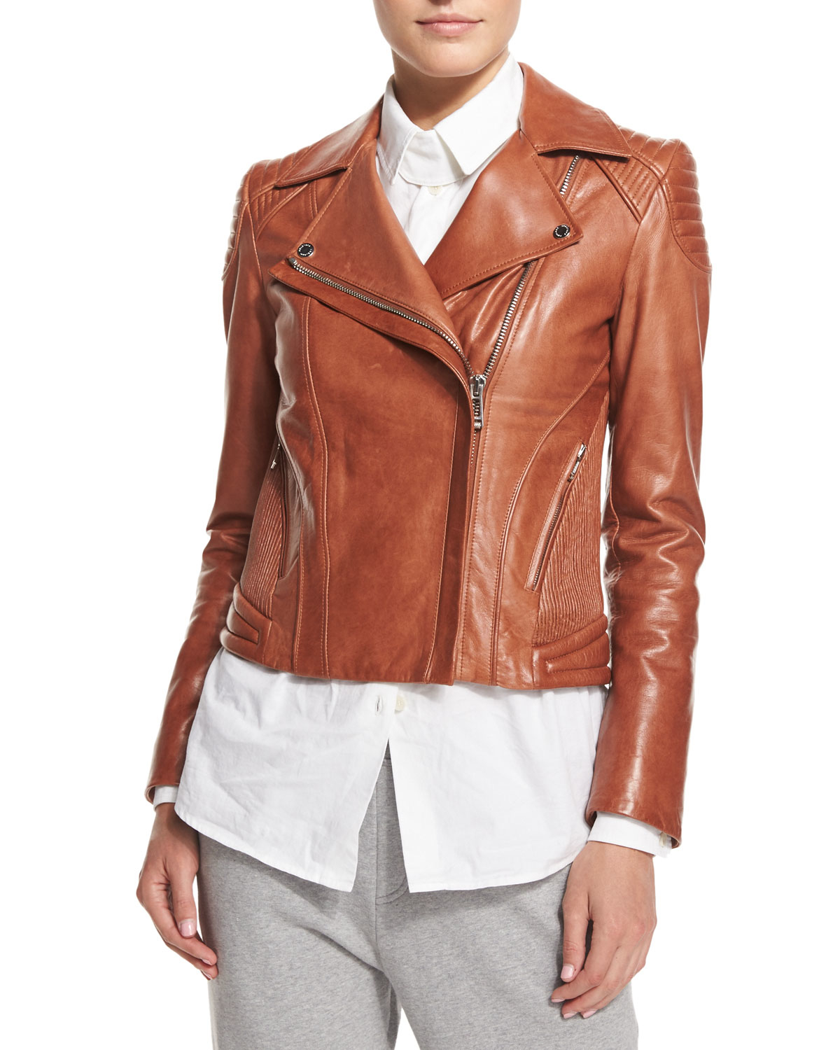 4a530a9a0976 Lyst - Belstaff Quilted-shoulder Leather Moto Jacket in Brown