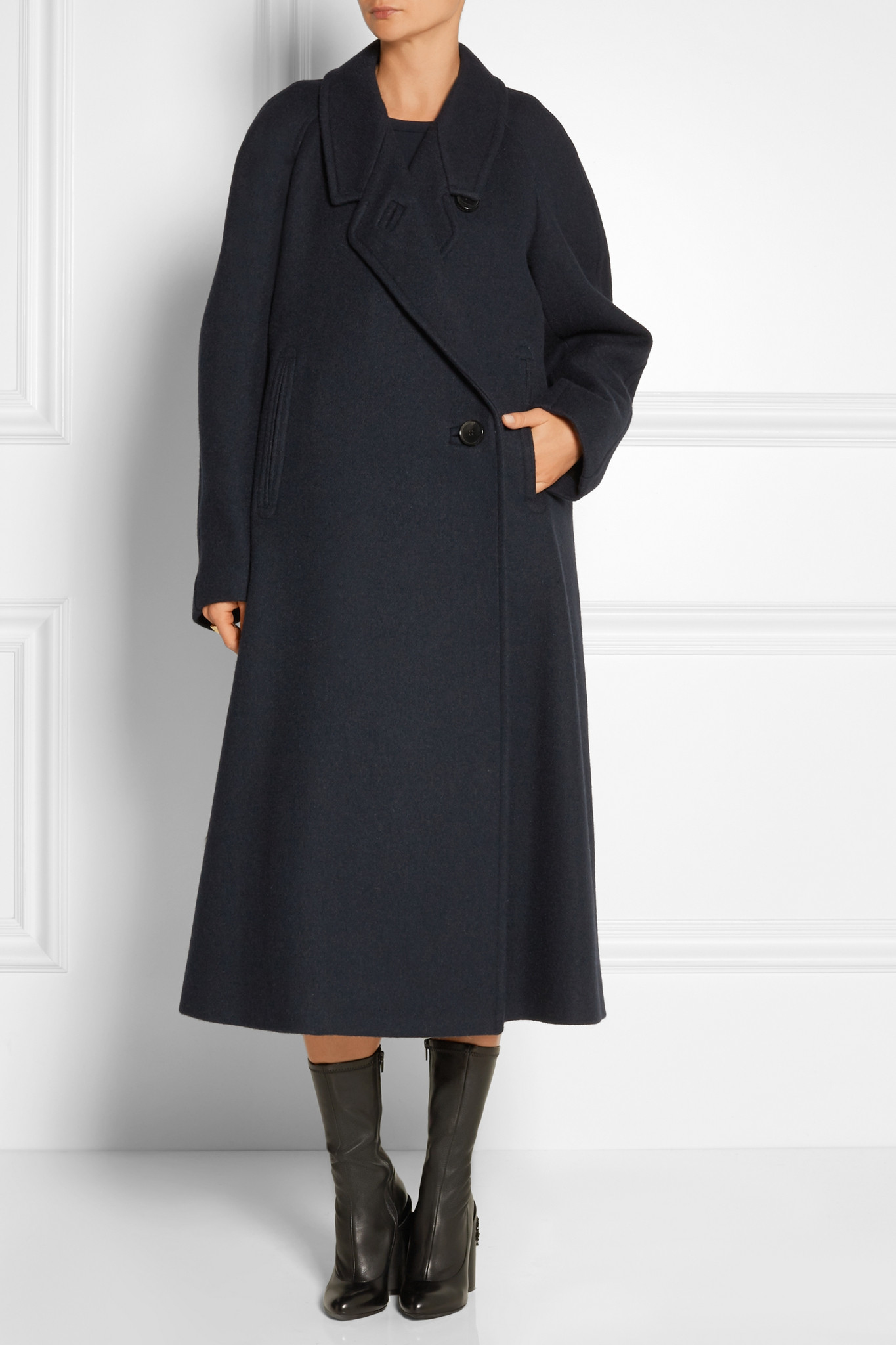 Lemaire Oversized Melton Wool Coat in Blue | Lyst