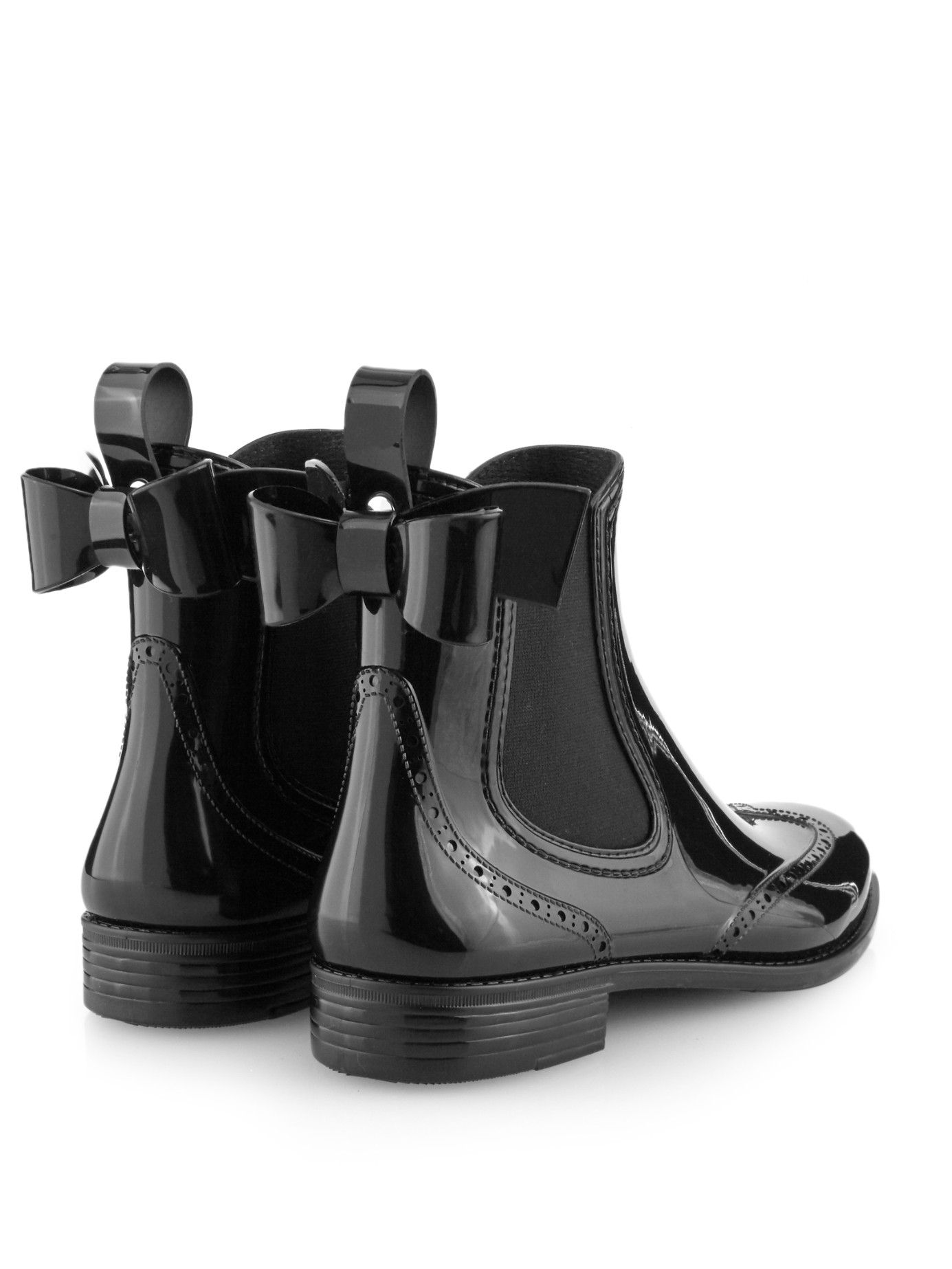 Red Valentino Bow Rubber Chelsea Boots In Black Lyst