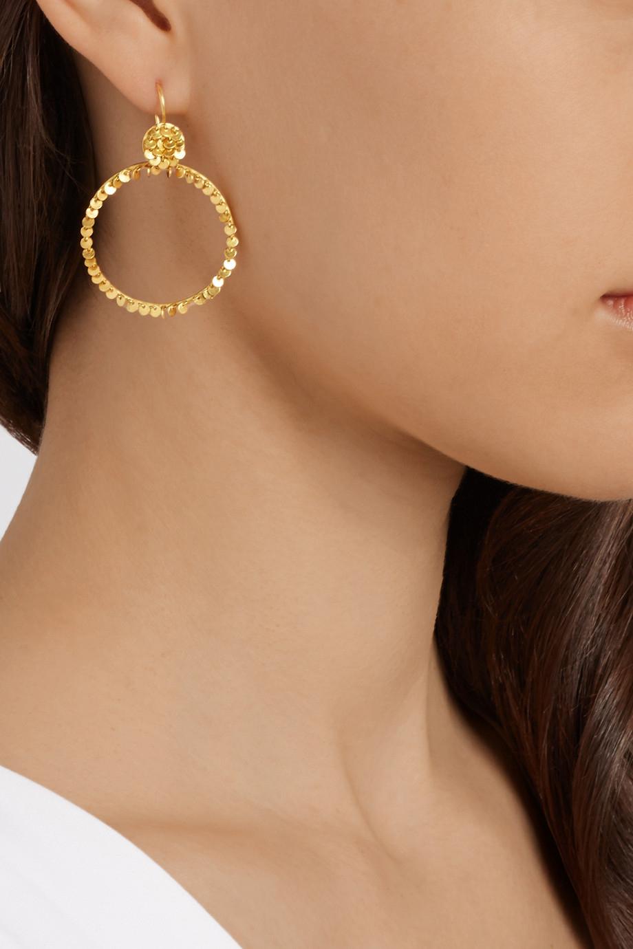 Lyst Marie Helene De Taillac 22 Karat Gold Hoop Earrings In Metallic