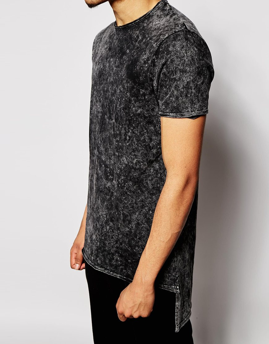 Lyst - Asos Longline T-shirt In Acid Wash With Stepped Hem in ...