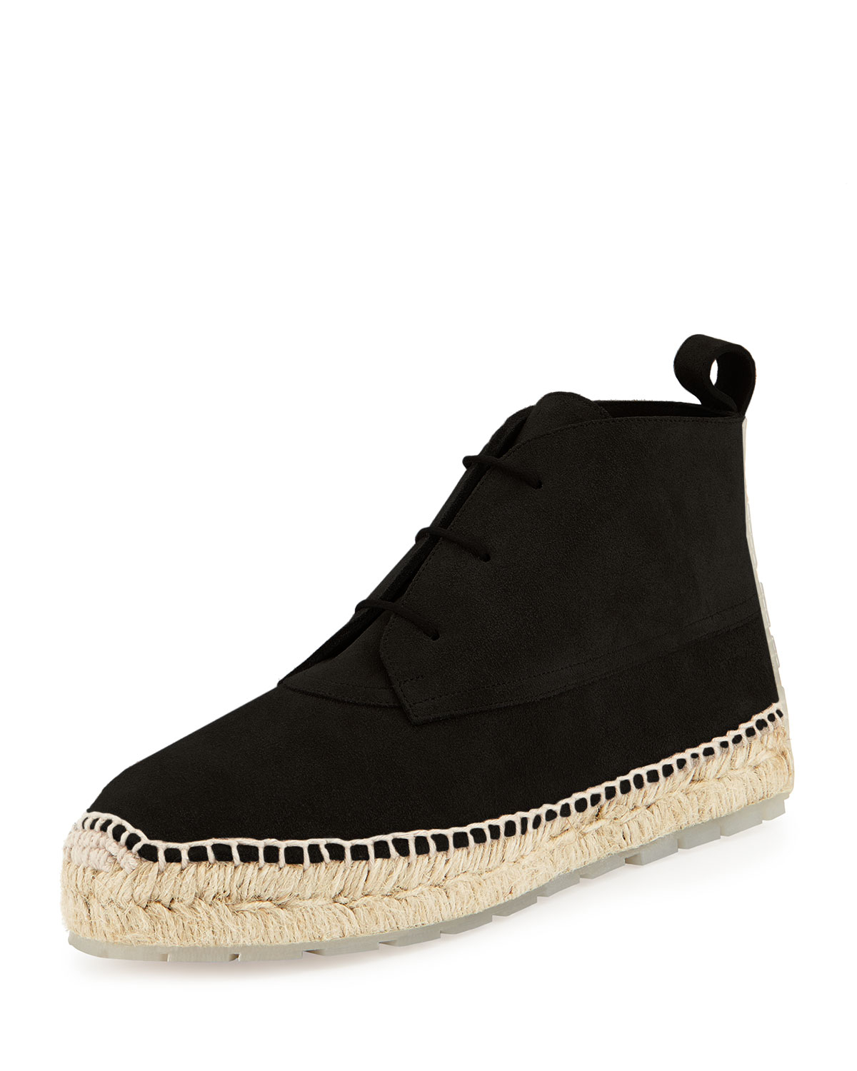 Balenciaga Lace-Up Suede Espadrille Boots in Black | Lyst