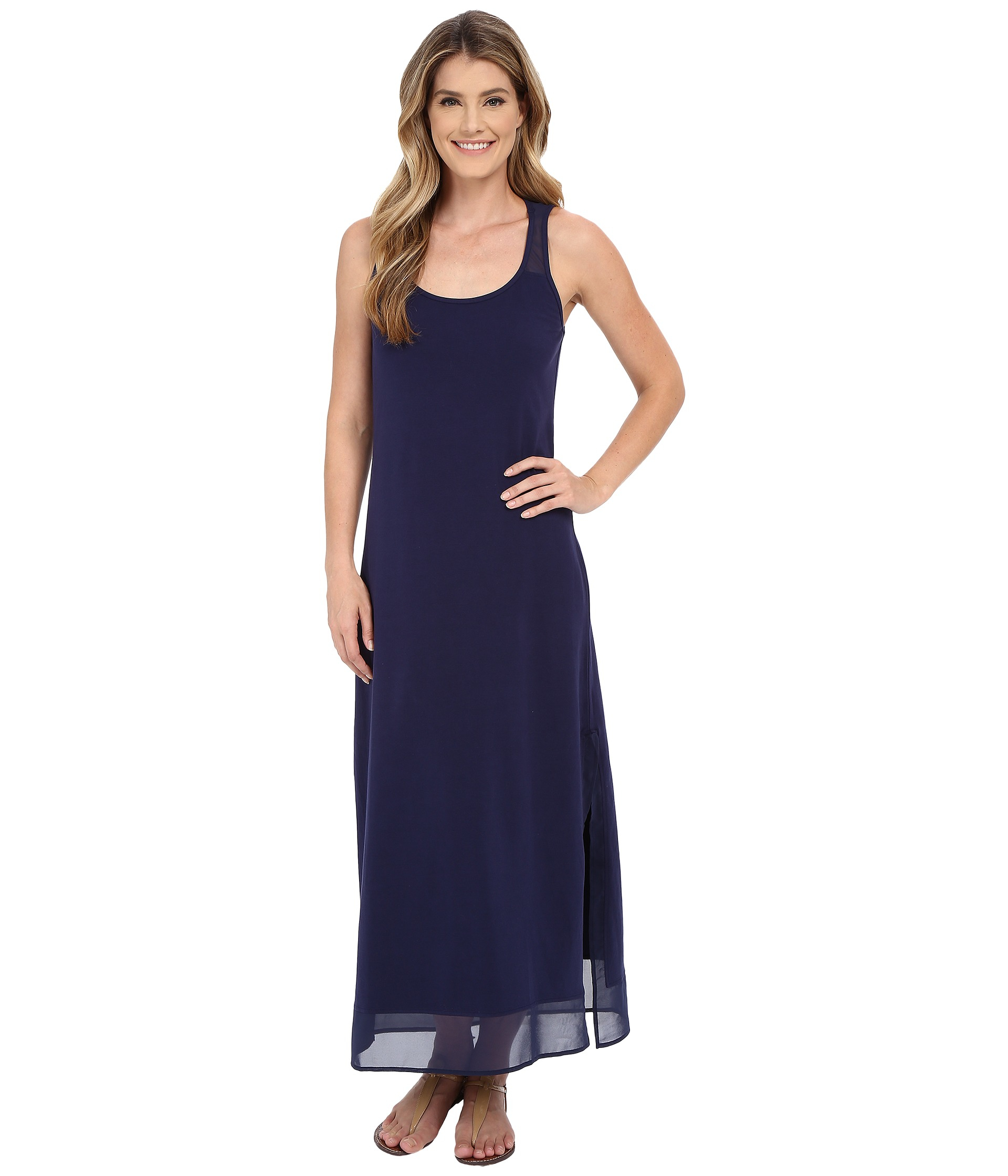 Lyst Tommy Bahama Knit Chiffon Scoop Neck Long Dress Cover Up In Blue