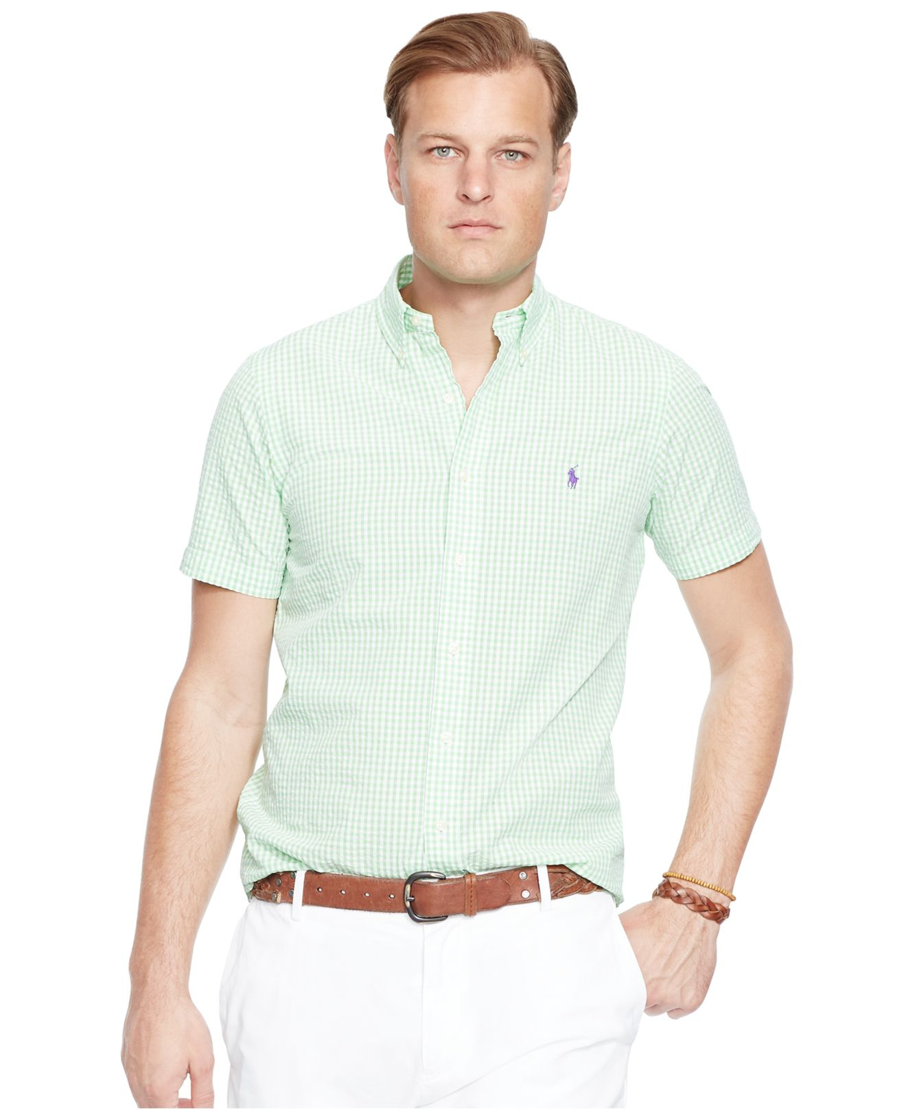 86fc3c2735f closeout macys coupon code ralph lauren tees for 7.90 33af7 e7167   authentic lyst polo ralph lauren big tall check seersucker shirt in green  883c1 b280e