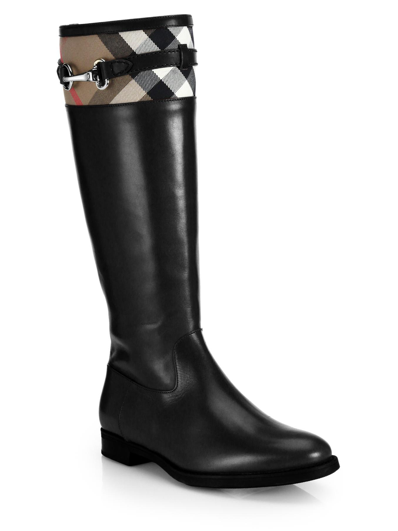 burberry dougal leather check canvas knee high boots in