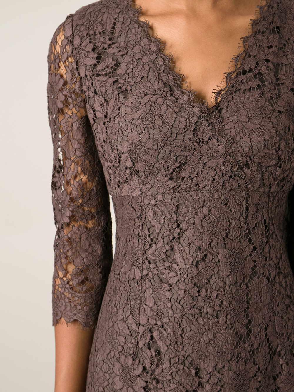 Dolce & gabbana Lace Dress in Brown | Lyst
