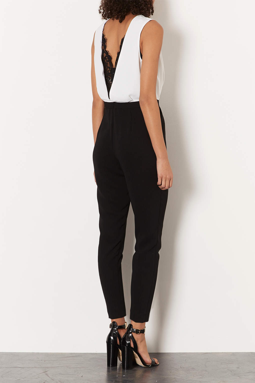Topshop Petite Lace Back Jumpsuit in Black | Lyst