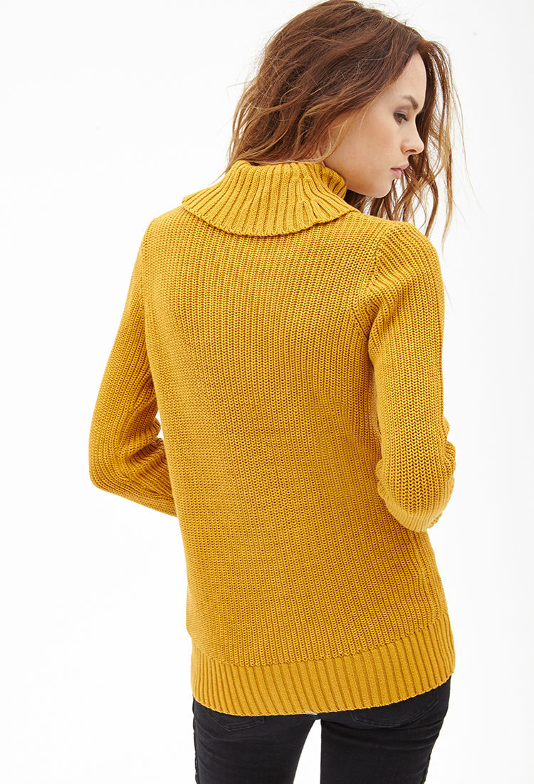 Forever 21 Ribbed Turtleneck Sweater in Yellow (MUSTARD) | Lyst