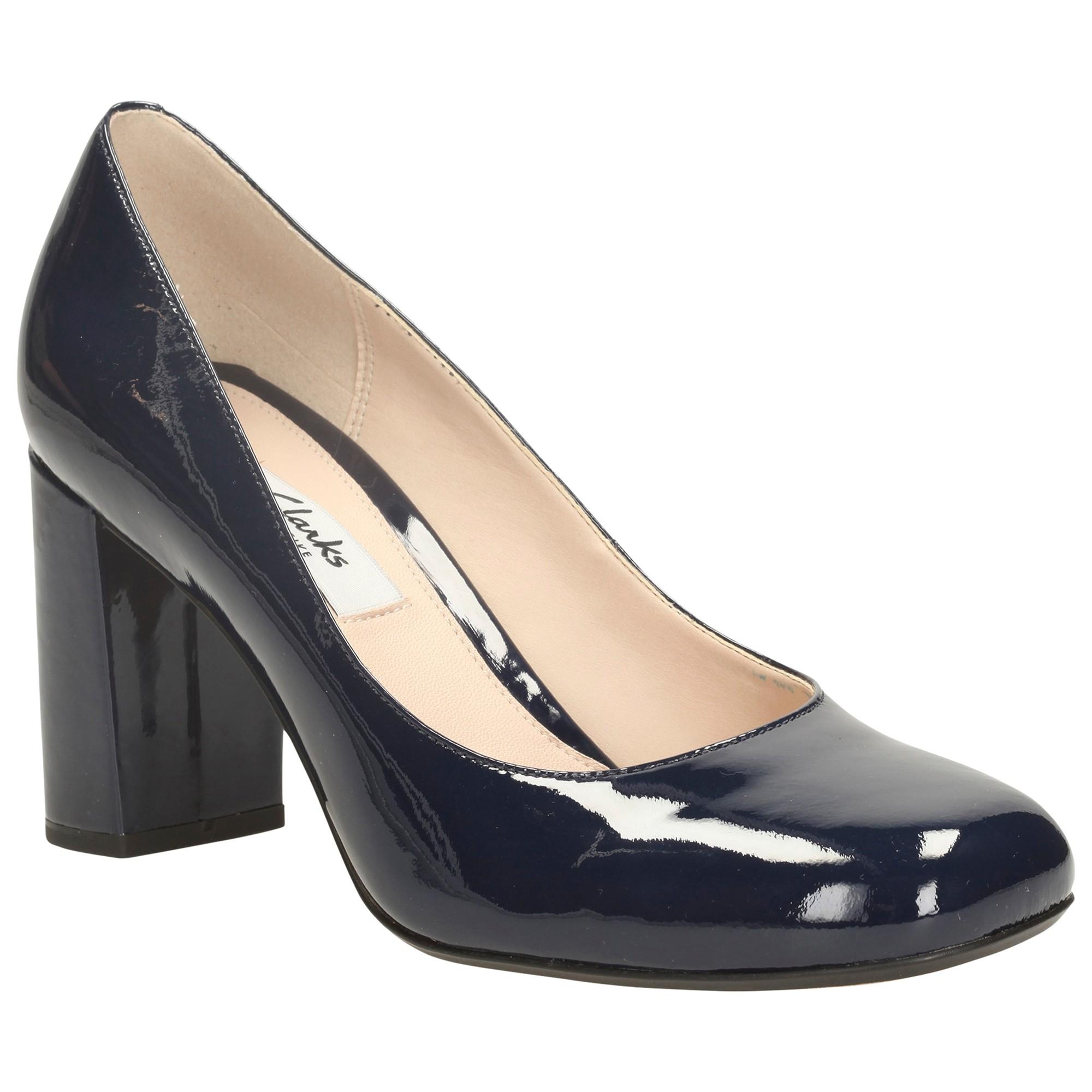 Black Block Heel Court Shoes
