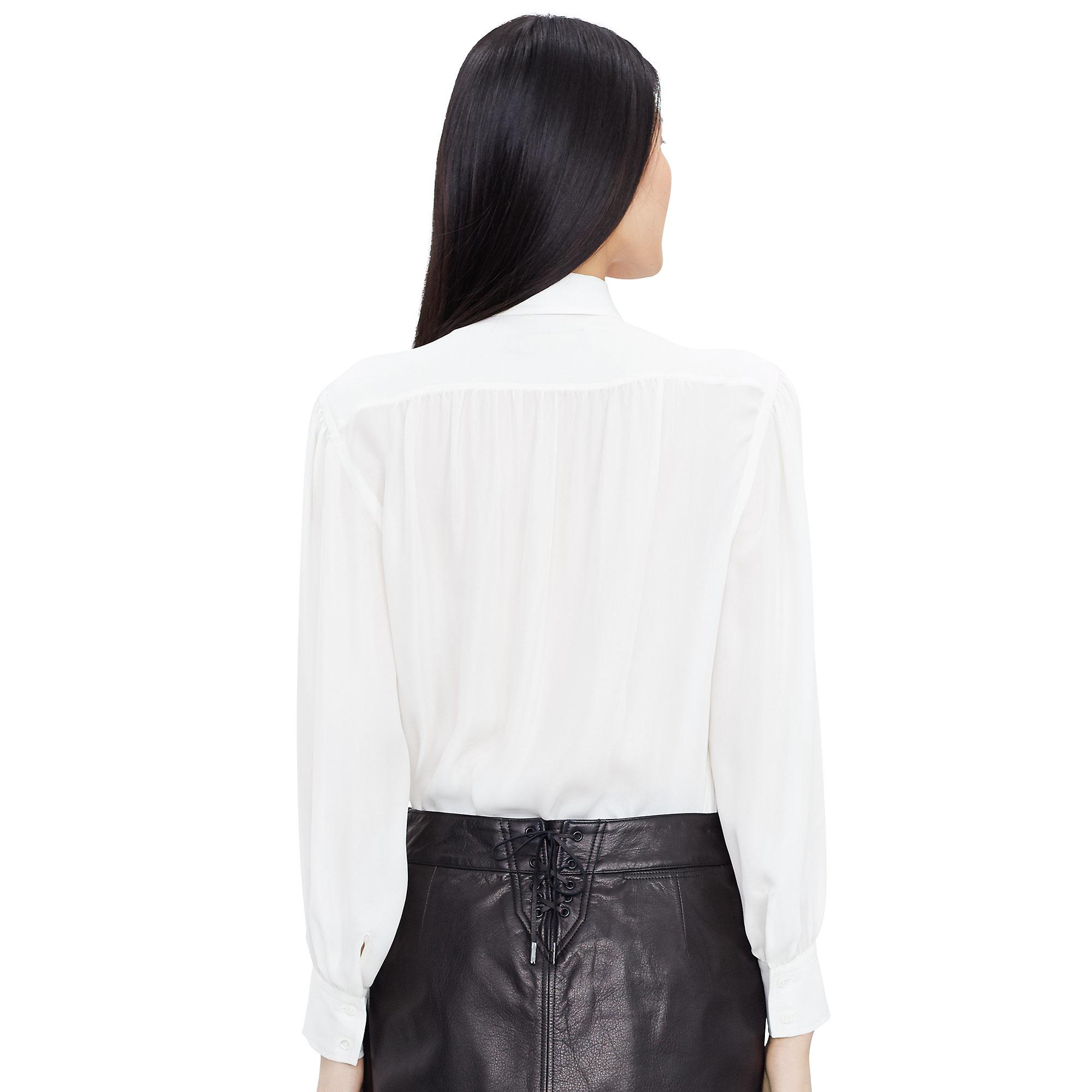 0a619918c19718 Lyst - Polo Ralph Lauren Silk Georgette Necktie Blouse in Natural