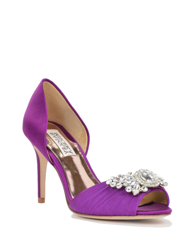 badgley mischka satin embellished evening shoe in