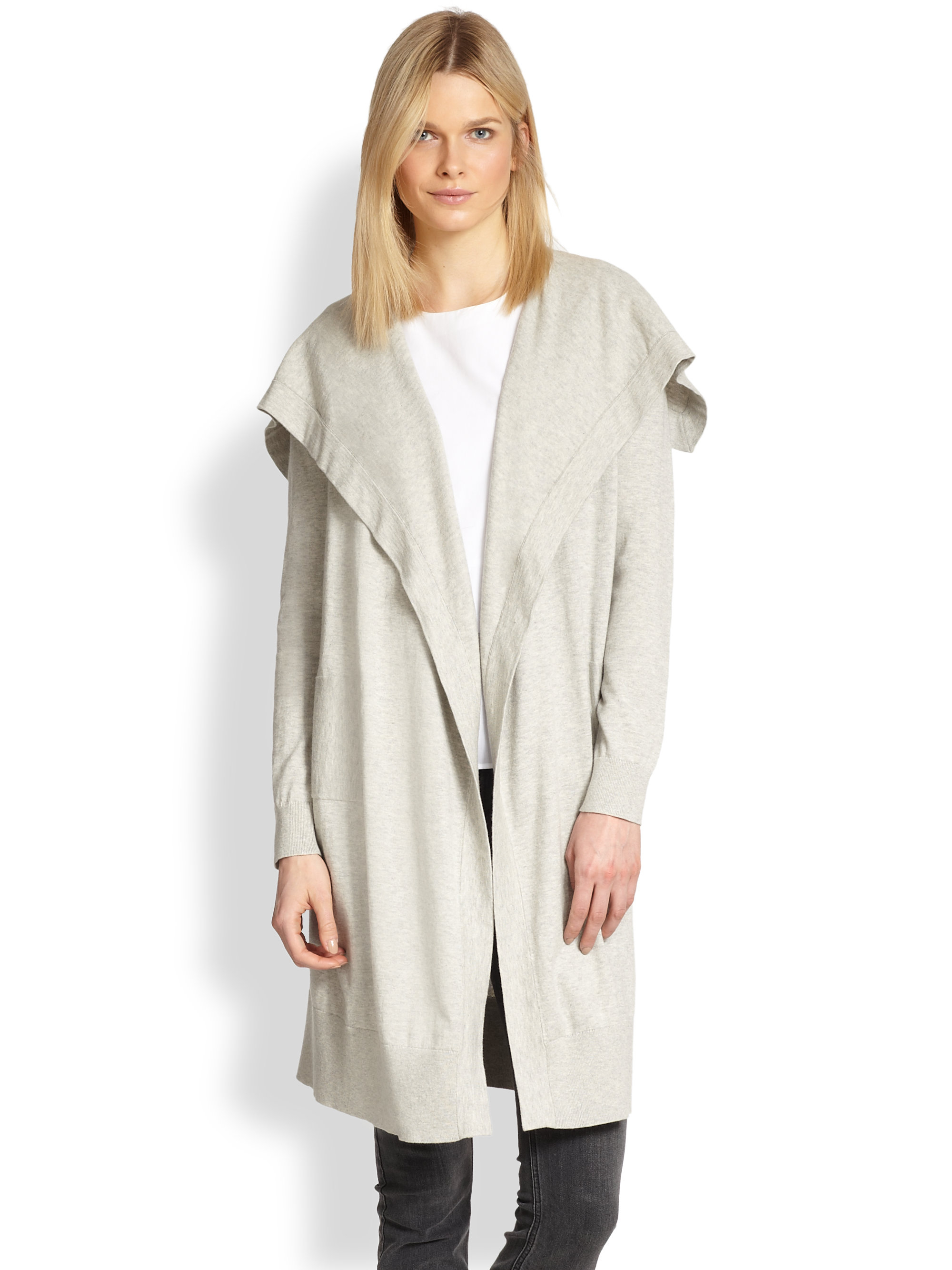 Theory Riviera Cotton Cashmere Cardigan in Gray | Lyst