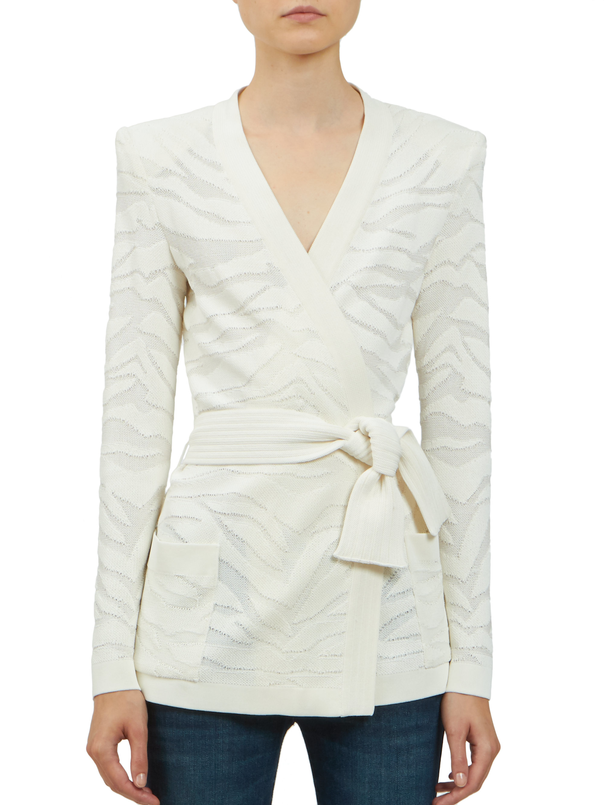 Balmain Deveree Textured Wrap Cardigan in White | Lyst