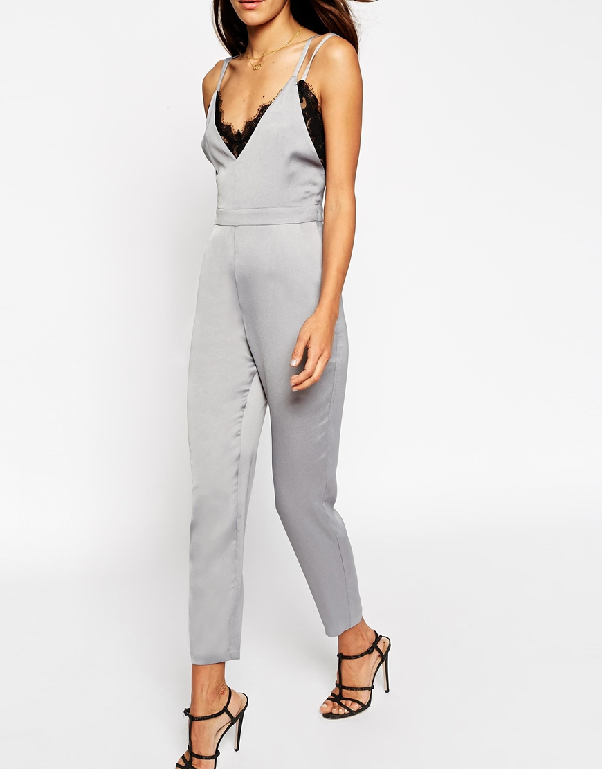 7ab0e90a7d83 Lyst - Asos Premium Lace Cami Jumpsuit in Metallic