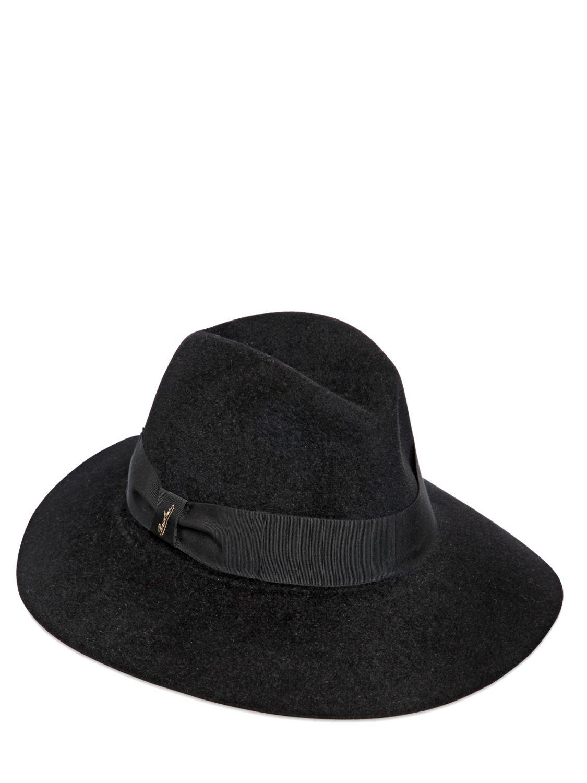 da89de9627c Lyst - Borsalino Lapin Fur Felt Wide Brim Hat in Black for Men