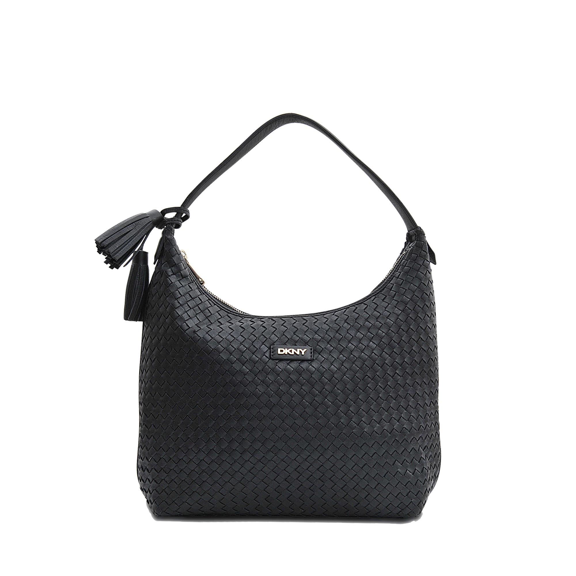 Lyst - DKNY Weaved Hobo Bag in Black d546c543eda33