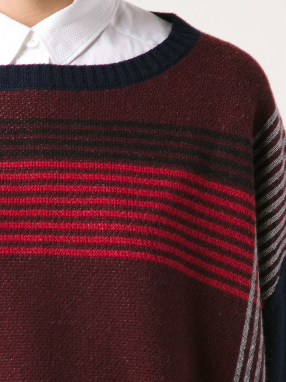 Band Of Outsiders Plaid Intarsia Pullover Sweater In Red