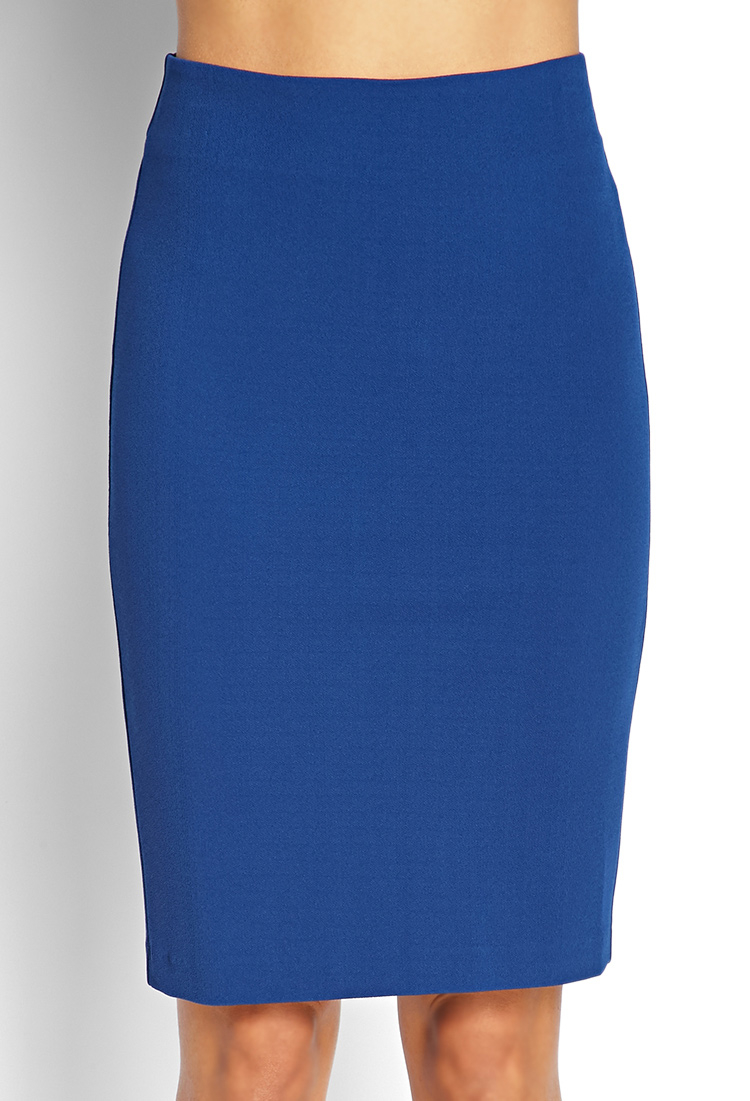 forever 21 textured knit pencil skirt in blue lyst