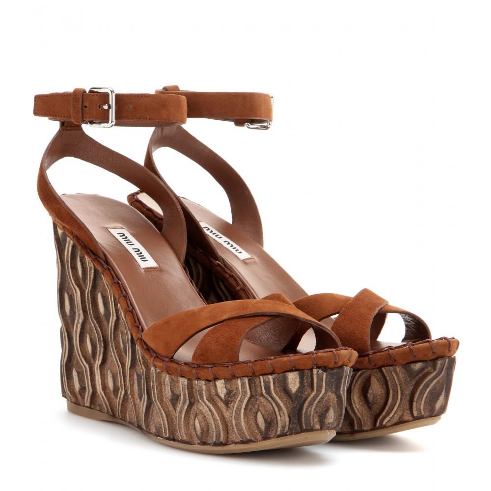 miu miu suede platform wedge sandals in brown lyst