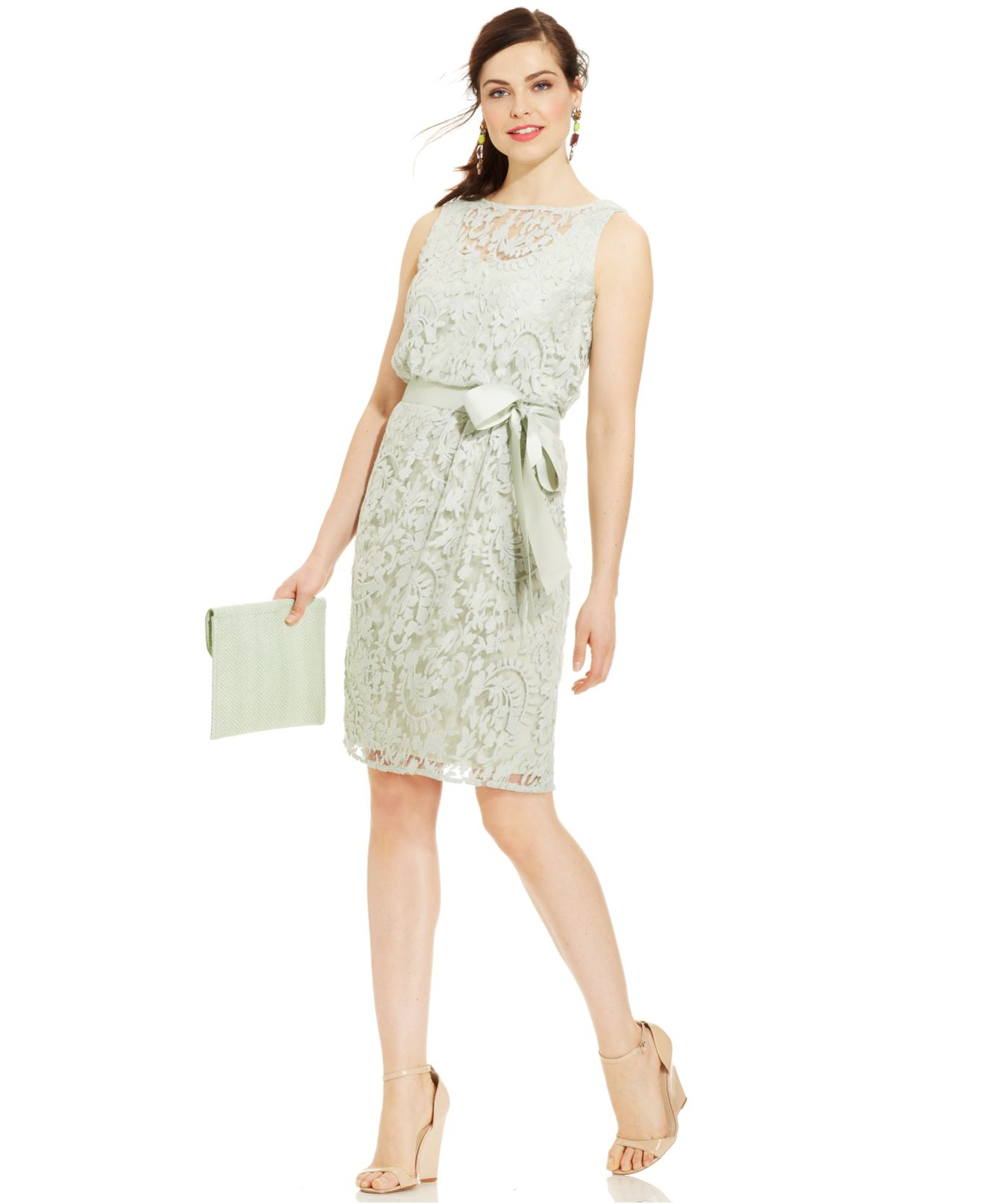 Adrianna papell Sleeveless Illusion-lace Belted Dress in Green   Lyst