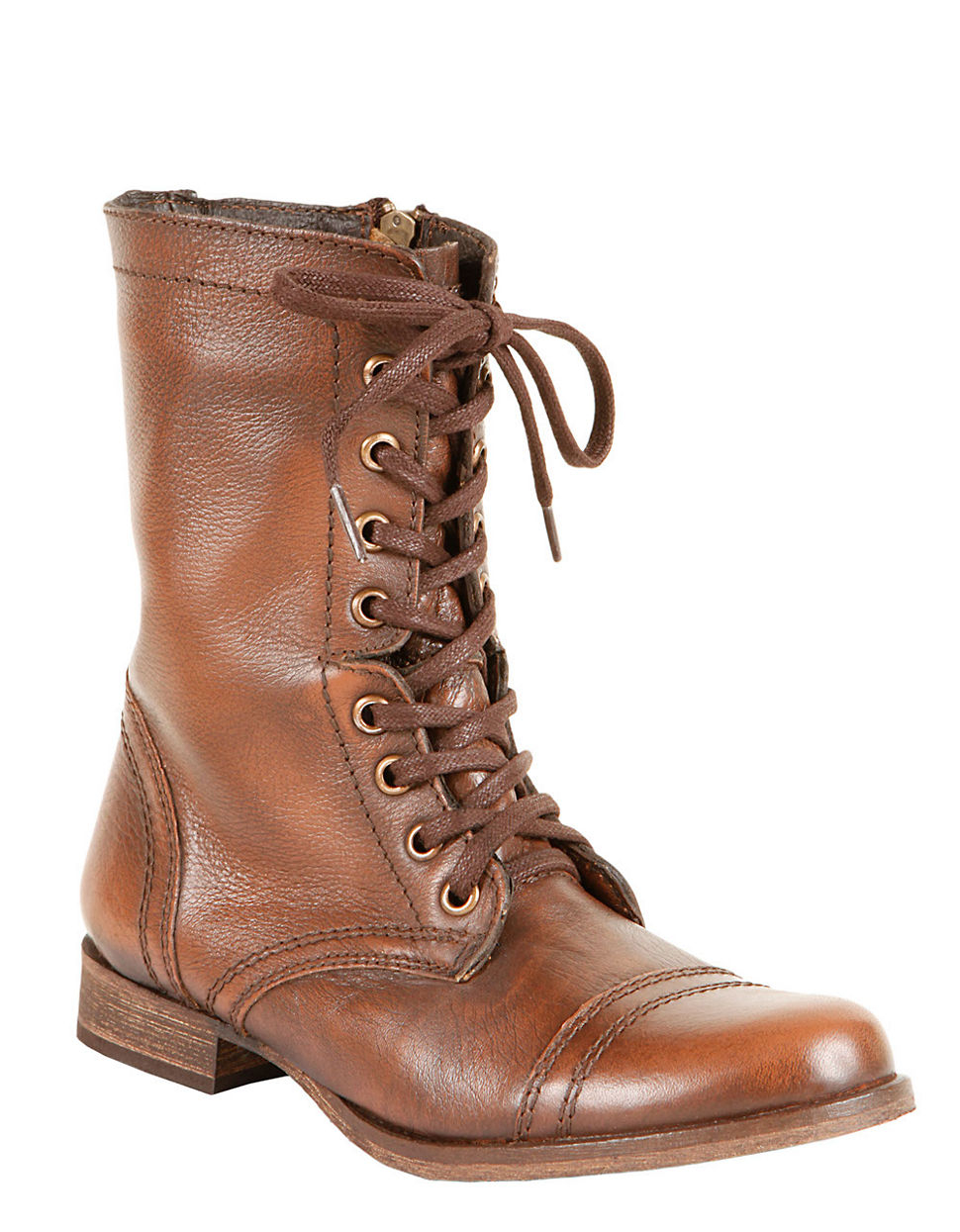 steve madden troopa leather lace up mid calf boots in