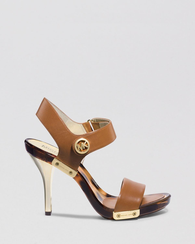 michael michael kors open toe platform sandals lani high heel in brown luggage lyst. Black Bedroom Furniture Sets. Home Design Ideas