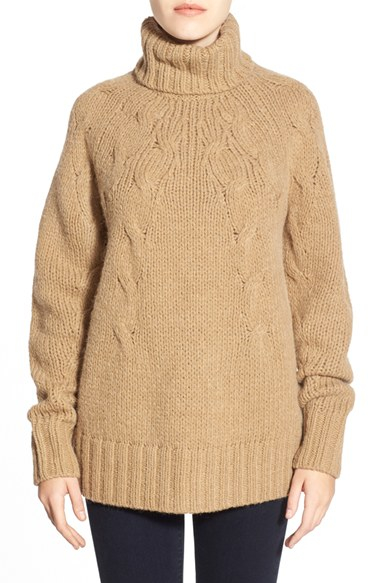 c6f86cfc84 MICHAEL Michael Kors Cable Knit Turtleneck Sweater in Natural - Lyst