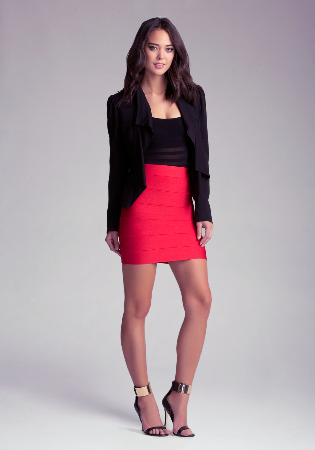 Lyst Bebe Solid Bandage Skirt In Red