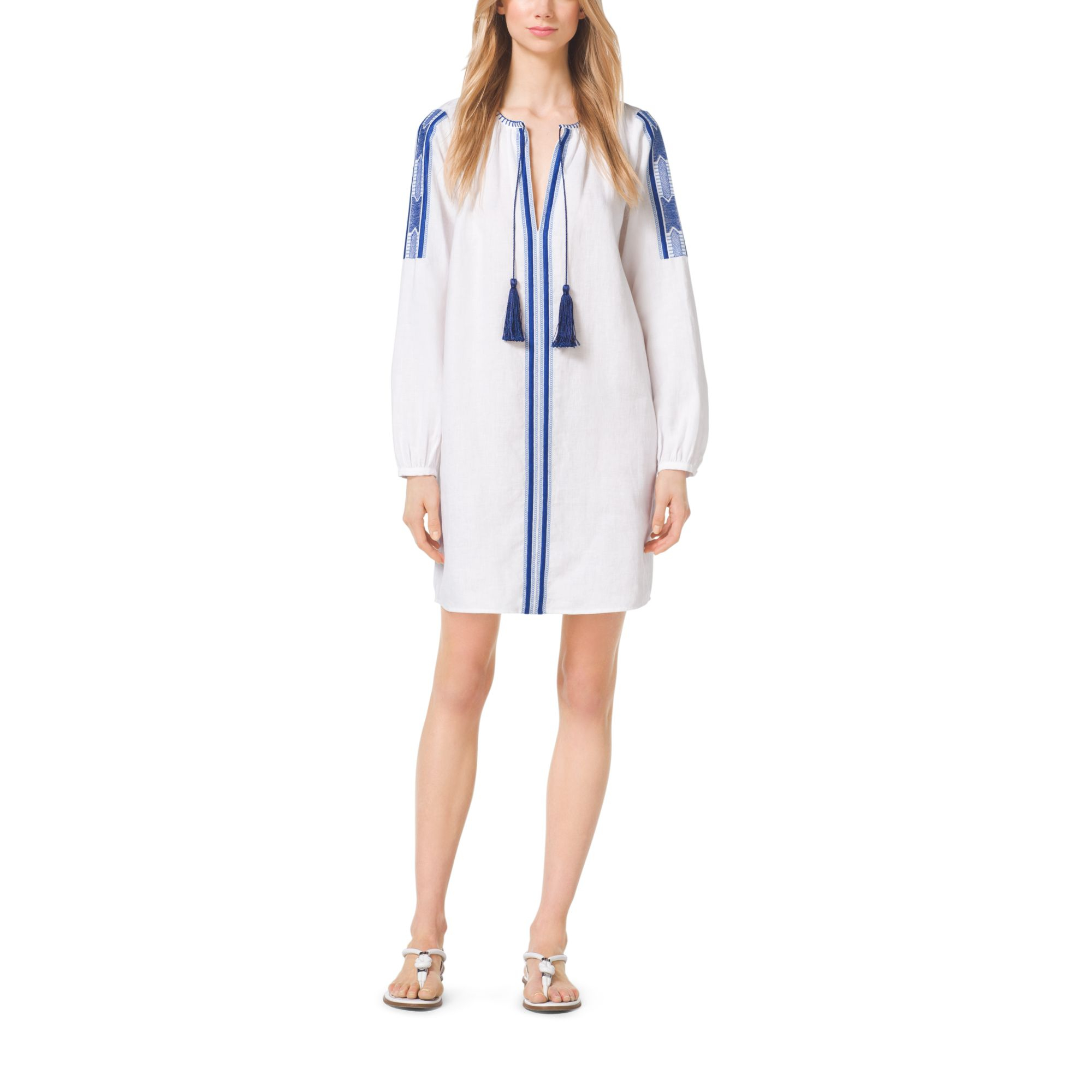 fb65ce4a6fd Lyst - Michael Kors Tasseled Embroidered Linen Tunic in Natural