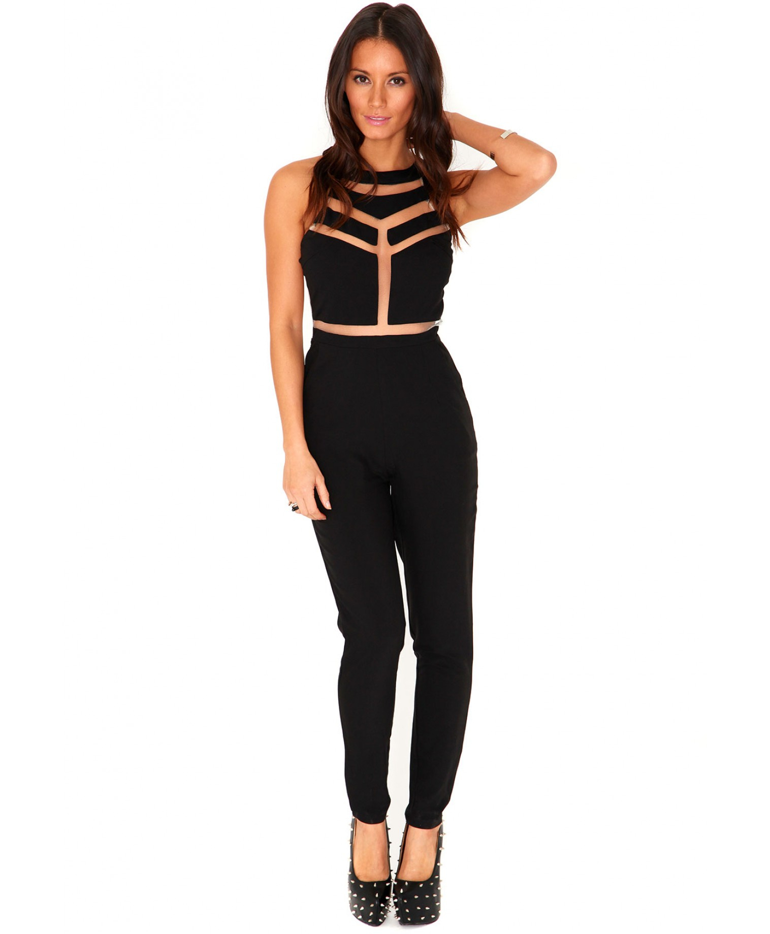 232789668b30 Lyst - Missguided Milenka Mesh Panel Jumpsuit In Black in Black
