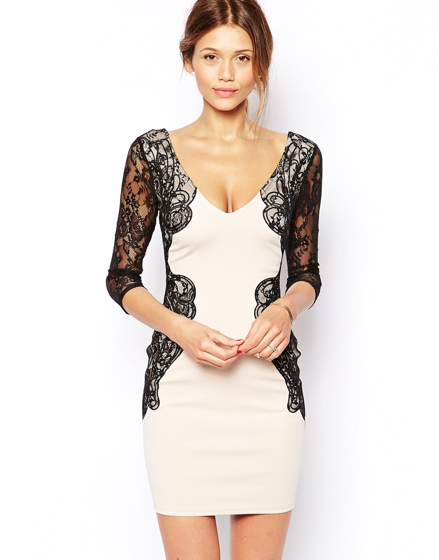 Lipsy Michelle Keegan Loves Bodycon Dress With Lace Sleeve ...