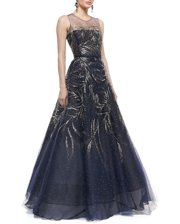 Oscar De La Renta Sleeveless Embellished Ball Gown In Blue