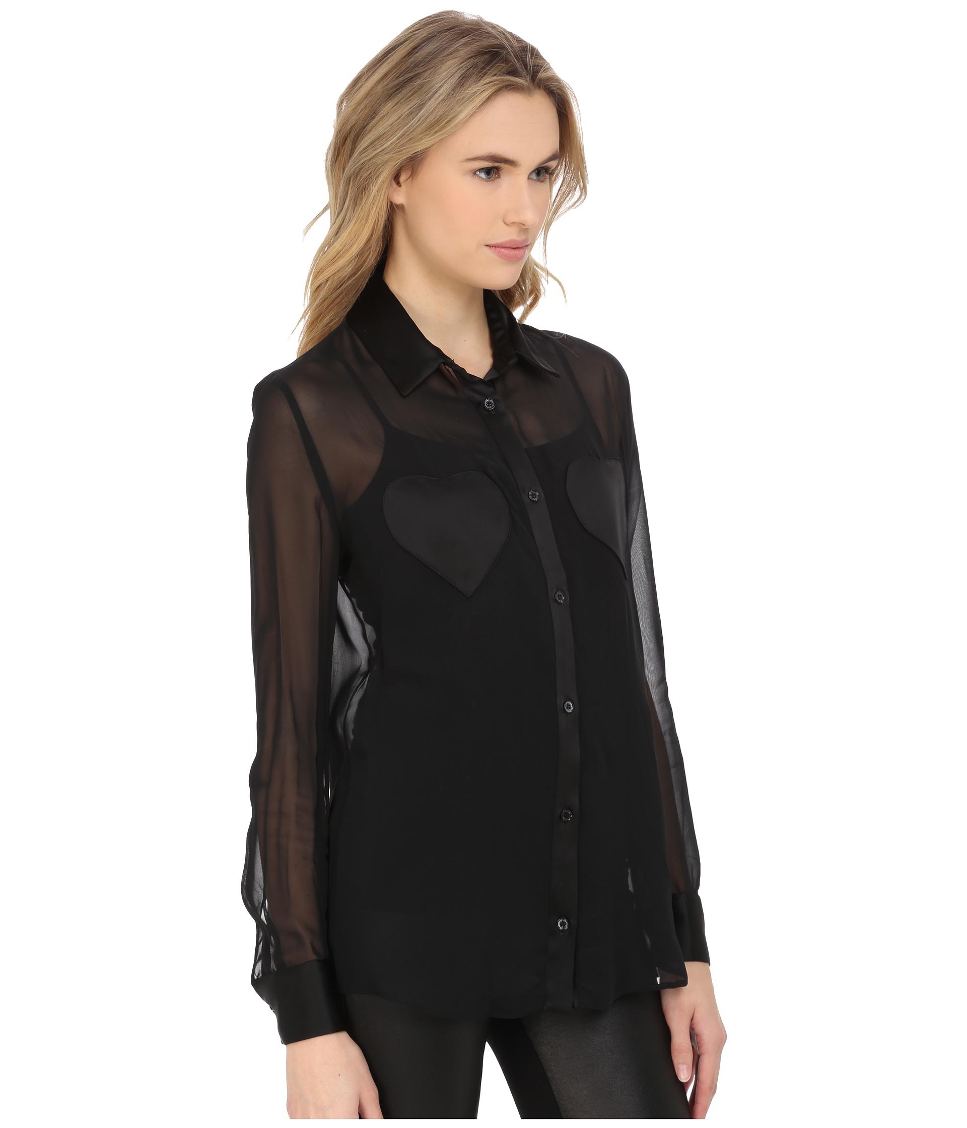 Lyst - Helmut Sheer Jersey Sleeve Buttondown Blouse in Black