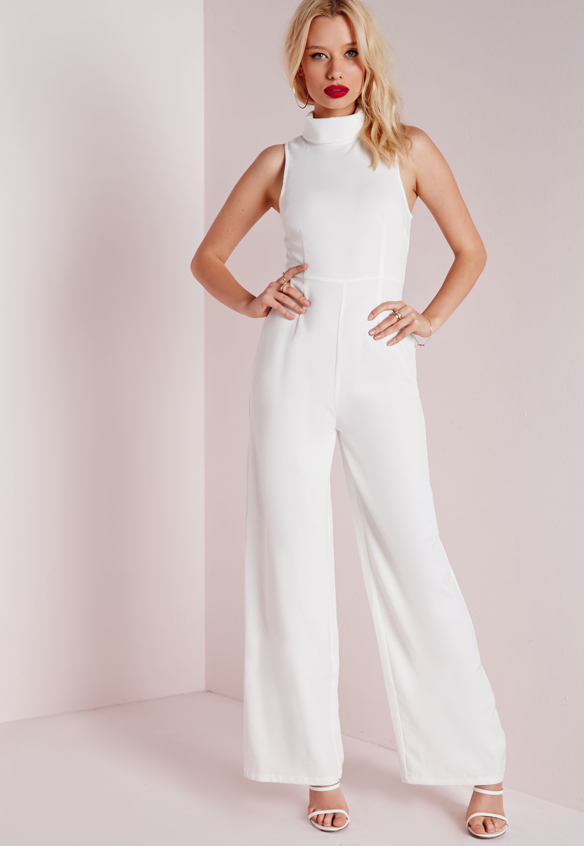63f03cc62c6 Lyst - Missguided High Neck Wide Leg Jumpsuit White in White
