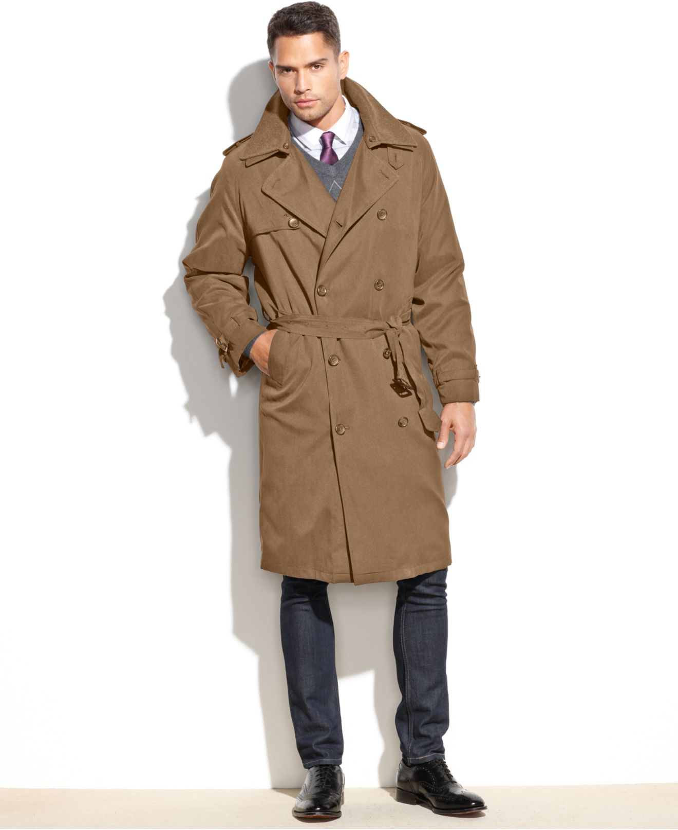 London Fog Iconic Belted Trench Raincoat In Natural For