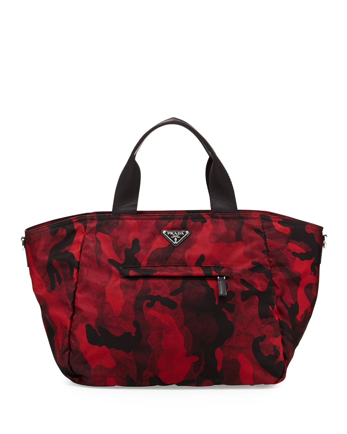 2822cad1e7708b low cost lyst prada tessuto camouflage tote bag in red d79a1 06192