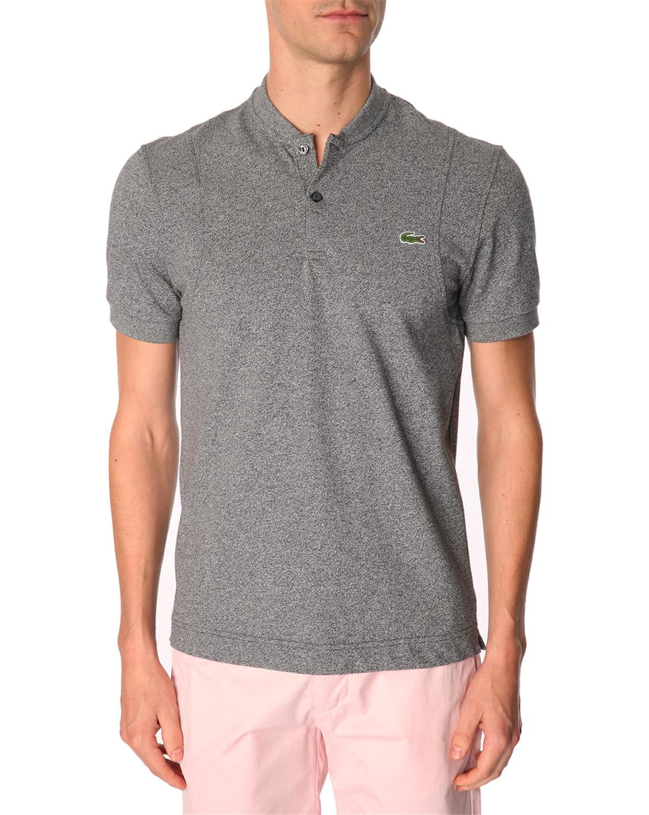 Lacoste l ive live collarless heather grey short sleeve for Collarless short sleeve dress shirt
