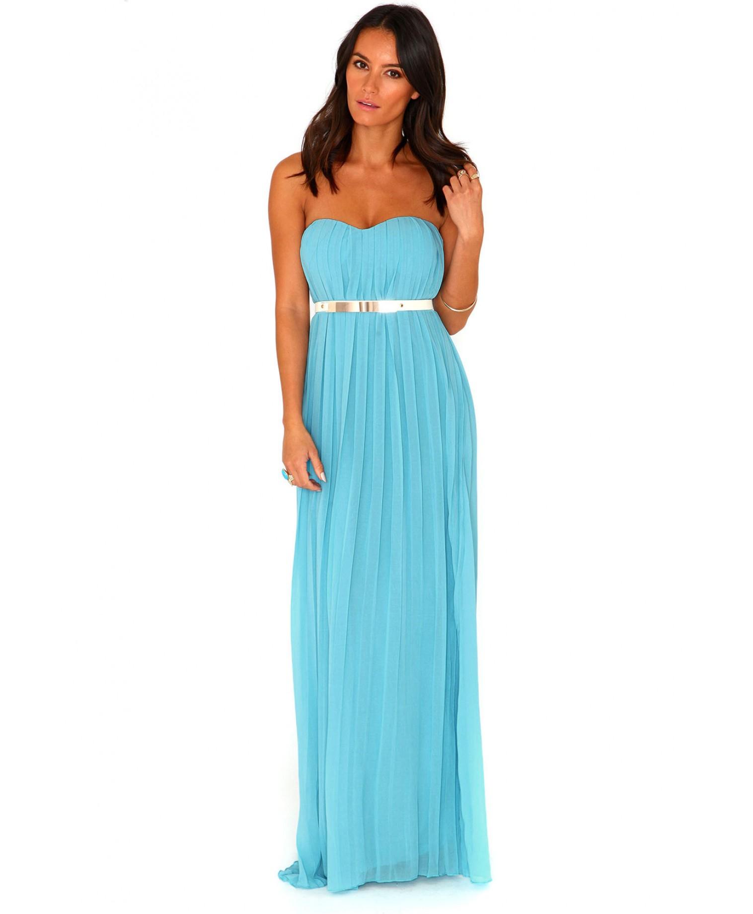 Pleated bandeau maxi dress