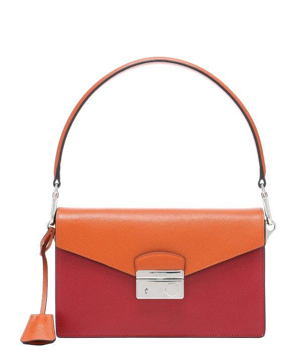 Lyst Prada Red And Orange Saffiano Leather Color Block