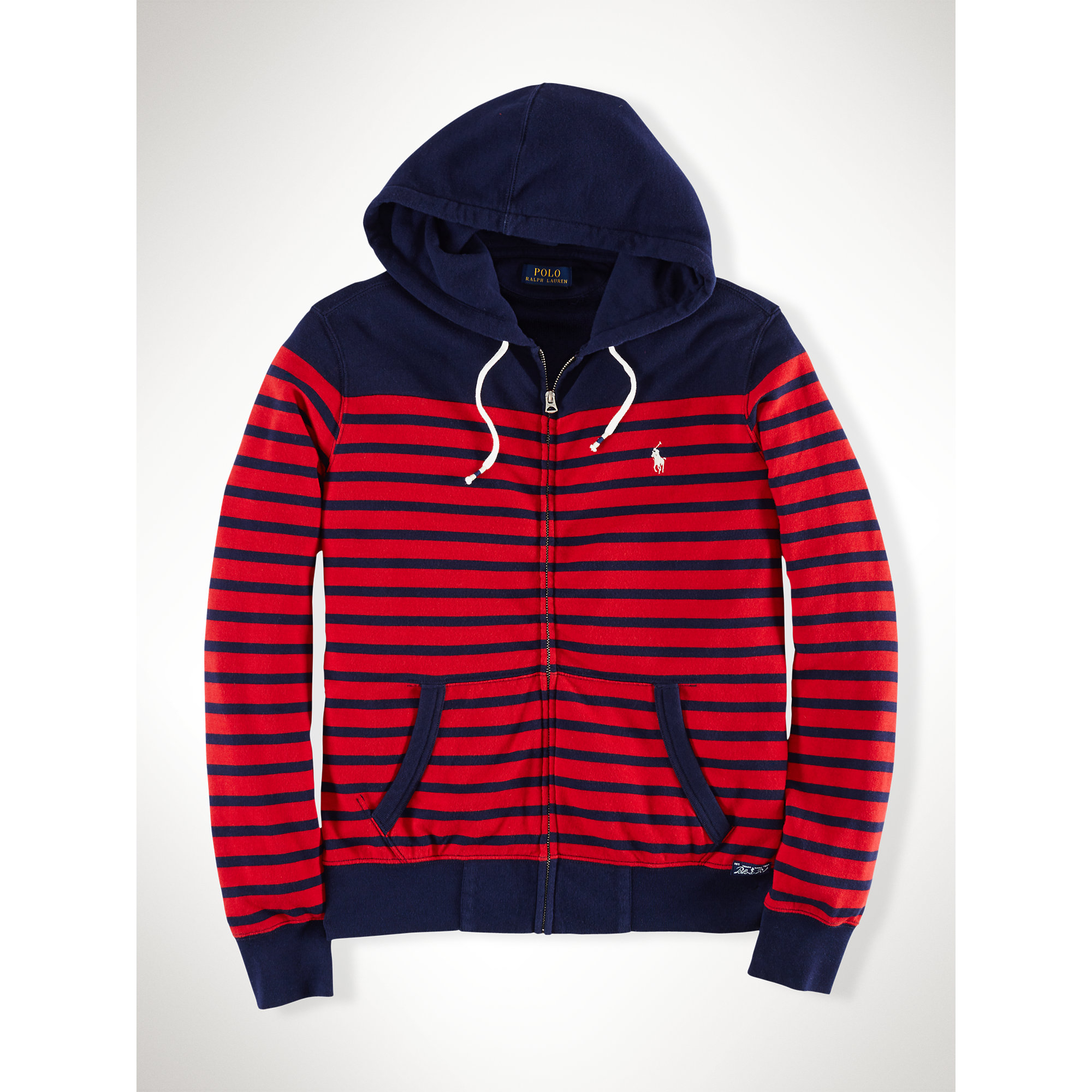 07b7074df Polo Ralph Lauren Striped Atlantic Terry Hoodie in Blue for Men - Lyst