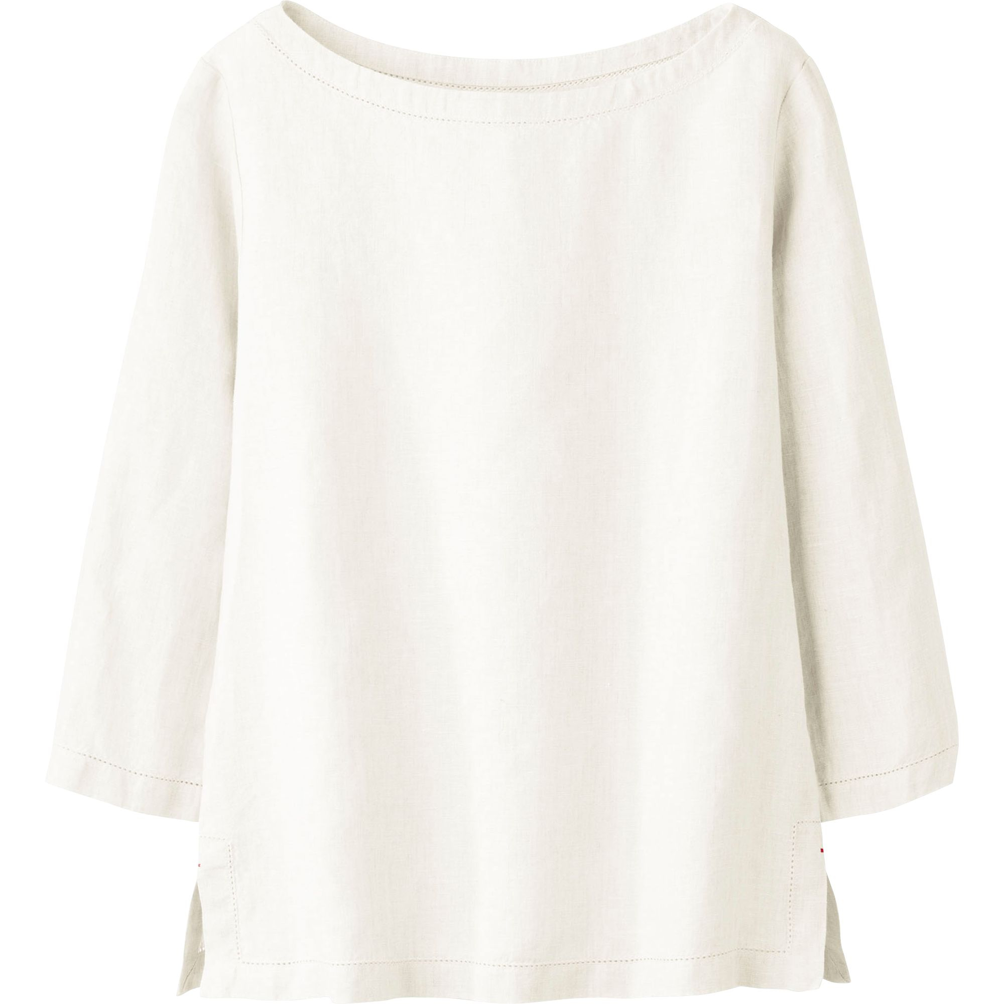 uniqlo women idlf linen boat neck pull over shirt in white off white lyst. Black Bedroom Furniture Sets. Home Design Ideas