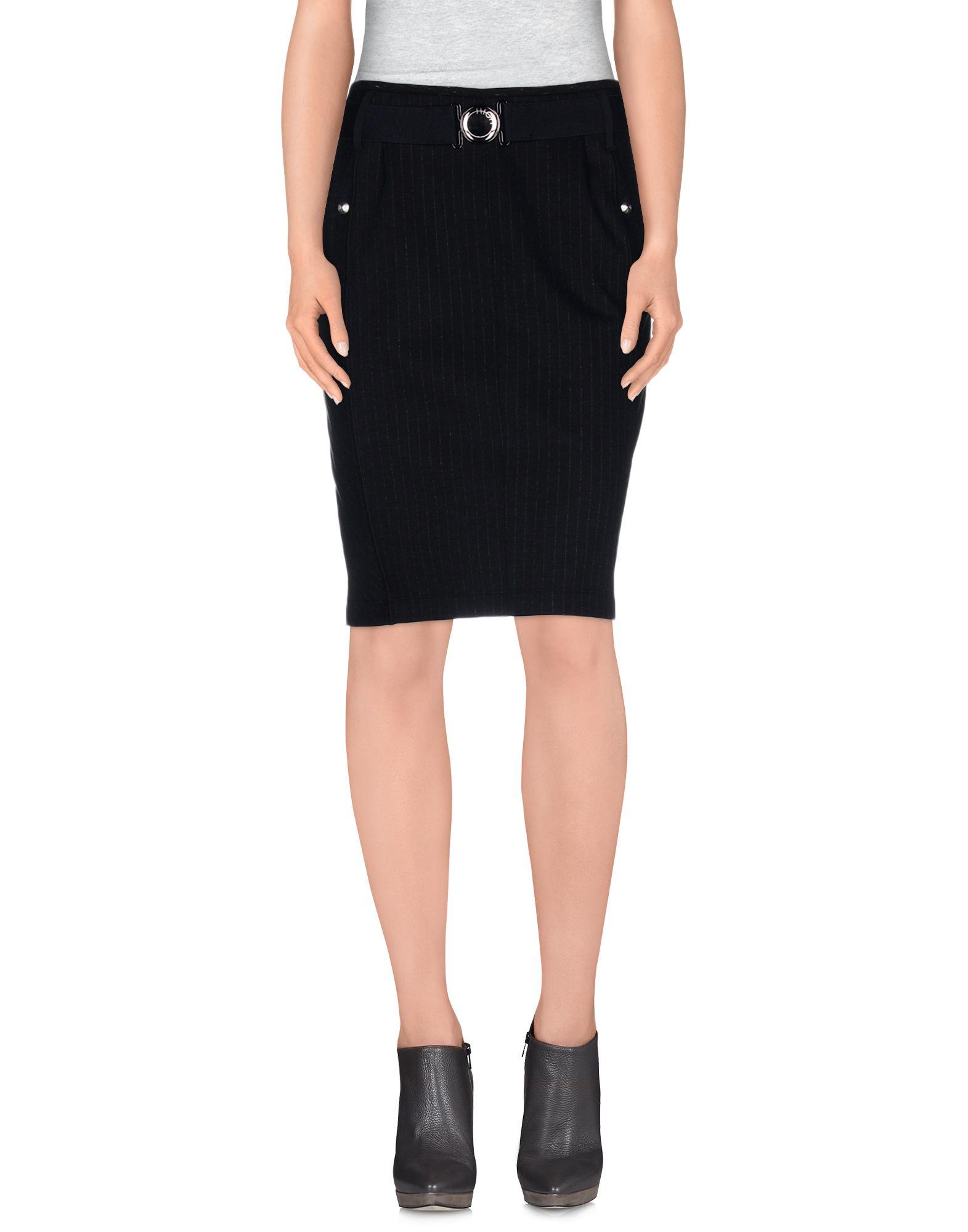 high knee length skirt in black lyst